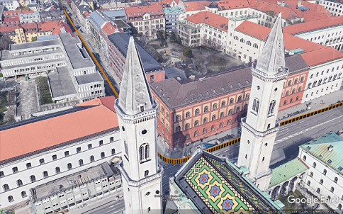 Position trajectory provided by ANavS MS RTK module and shown on Google Earth at Ludwigskirche