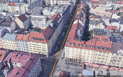 Position trajectory provided by ANavS MS RTK module and shown on Google Earth at Schellingstrasse
