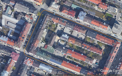 Position trajectory provided by ANavS MS RTK module in Munich Downtown and shown on Google Maps
